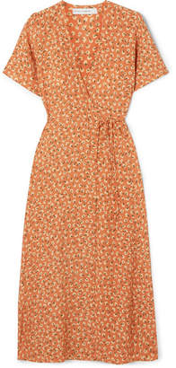 Faithfull The Brand Leila Floral-print Crepe Wrap Dress - Pastel orange