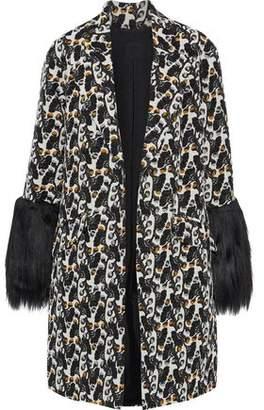 Anna Sui Faux Fur-Paneled Cotton-Blend Jacquard Jacket