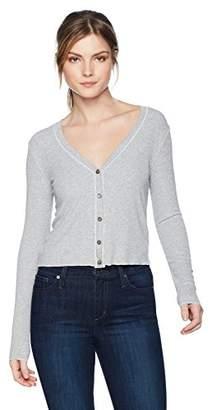Three Dots Women's Viscose Rib Grey Short Loose Cardigan