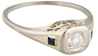 Ring Art Deco 14K Diamond and Synthetic Sapphire