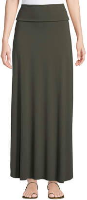 Three Dots Side-Slit Jersey Maxi Skirt