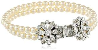Swarovski Ben-Amun Jewelry Crystal Floral Design Glass Pearl Strand Bracelet for Bridal Wedding Anniversary