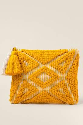 francesca's Delaney Handloom Fabric Clutch - Marigold