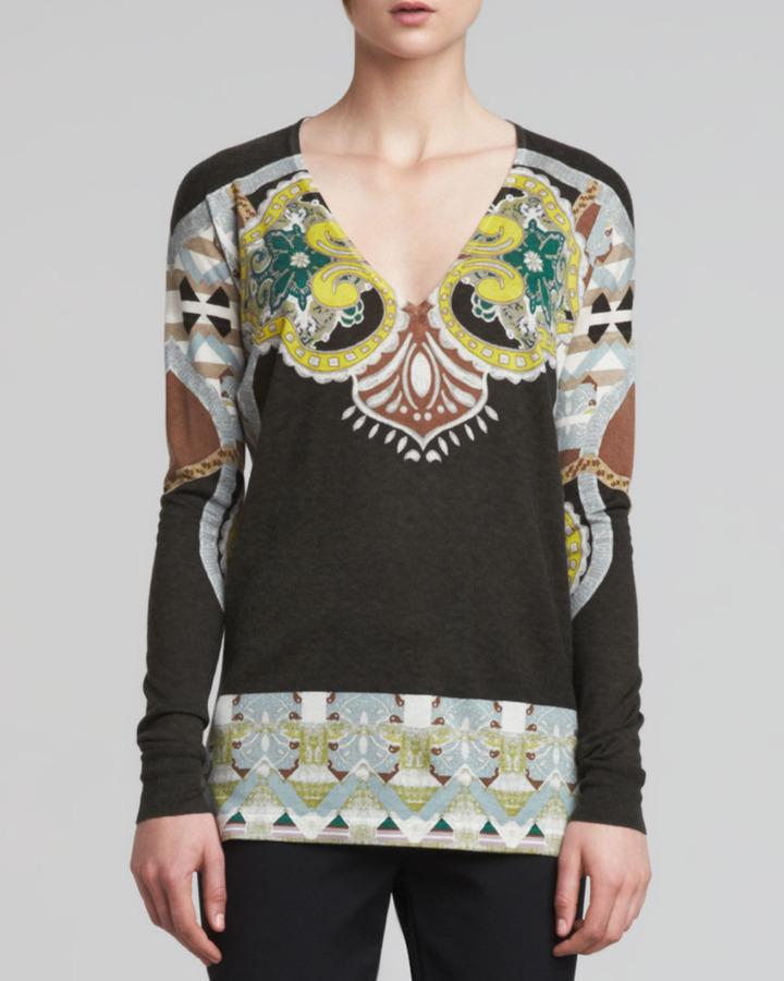 Etro Printed V-Neck Silk-Cashmere Sweater