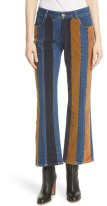 See by Chloe Paneled Crop Flare Jeans