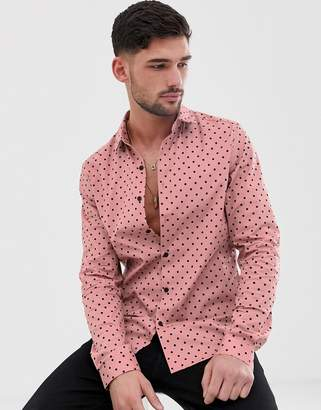 Asos DESIGN stretch slim pink shirt in polka dot