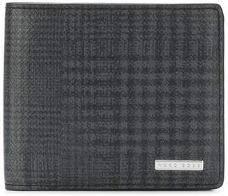 HUGO BOSS checked logo plaque wallet