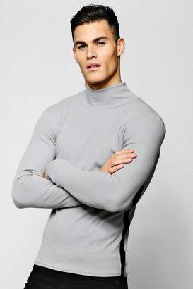 boohoo Ribbed Turtle Neck With Side Stripe