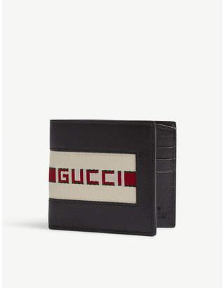 Gucci Black Canvas Stripe Leather Wallet