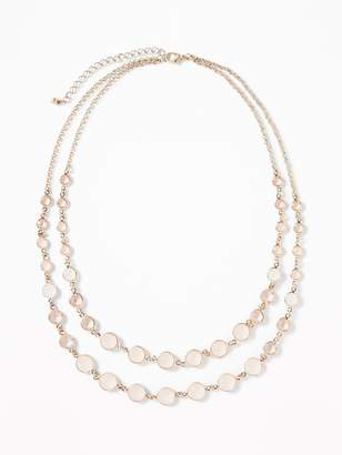 Old Navy Double-Chain Crystal Necklace for Women