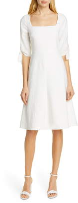 Rebecca Taylor Tailored By Tie Sleeve Linen Blend Dress