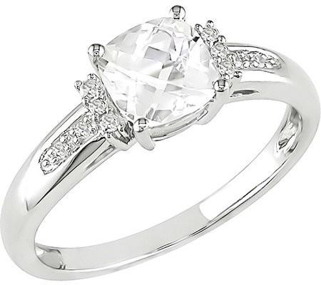 Miabella 1-1/4 Carat T.G.W. White Topaz and Diamond Accent Ring in 10kt White Gold