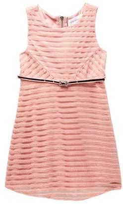 Blush by Us Angels Shadow Stripe Skater Dress W/ Belt (Toddler)