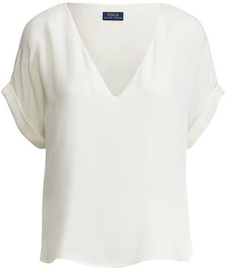 Polo Ralph Lauren Silk V-Neck Top $165 thestylecure.com