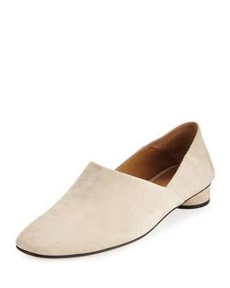 THE ROW Noelle Suede 30mm Flat, Moonstone $820 thestylecure.com