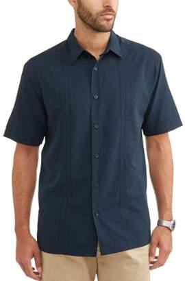 Cafe Luna Men's Short Sleeve Panel Woven Shirt