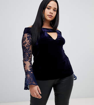 Missguided Plus lace sleeve velvet bardot top in navy