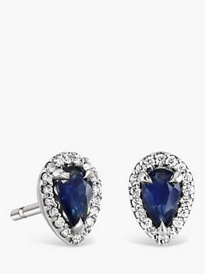 155067a33 Brown & Newirth 9ct White Gold Sapphire and Diamond Teardrop Stud Earrings,  ...