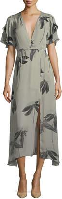 Halston Flutter-Sleeve Printed Silk Faux-Wrap Dress