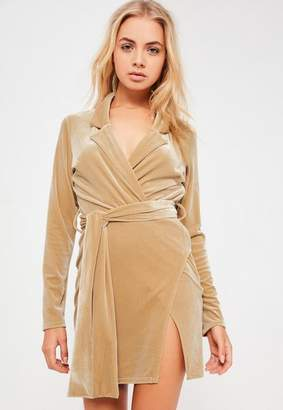 Missguided Nude Velvet Wrap Blazer Dress
