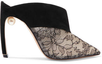 Nicholas Kirkwood Mira Faux Pearl-embellished Suede And Lace Mules - Black