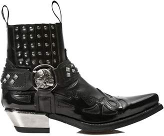 New Rock Cowboy Western Gothic Ankle Boots with Skull Straps and Metal Studding