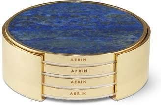 AERIN Lucas Set of 4 Stone Coasters with Holder