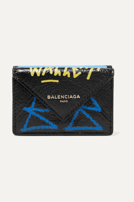 Balenciaga Papier Mini Printed Textured-leather Wallet - Black