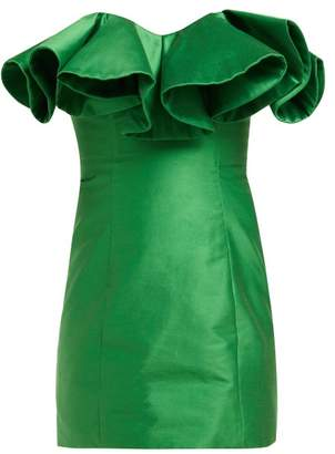 ATTICO The Ruffle Trim Cotton Blend Bustier Dress - Womens - Green