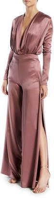 Cushnie et Ochs High-Waist Split Wide-Leg Silk Crepe Pants