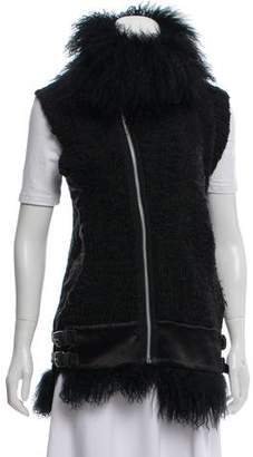 Sacai Shearling Trimmed Wool Vest