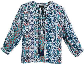 Tolani Elizabeth Printed Tunic w/ Hanging Tassels, Size 2T-6X