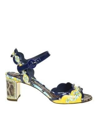 Dolce & Gabbana Sandal Keira In Patent Maiolic Leo Print With Applicat