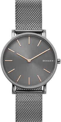 Skagen Unisex Hagen Slim Dark Gray Stainless Steel Mesh Bracelet Watch 38mm
