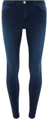 Dorothy Perkins Womens Indigo Stud Side Denim 'Bailey' Jeans