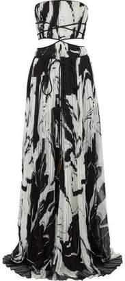 Roberto Cavalli Strapless Cutout Printed Silk-Chiffon Gown