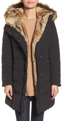 Cole Haan Asymmetrical Down Coat with Faux Fur Trim $430 thestylecure.com