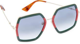 Gucci Urban Web Block Sunglasses $400 thestylecure.com