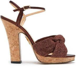 Charlotte Olympia Farrah Knotted Suede Platform Sandals