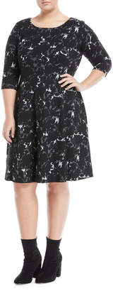 Neiman Marcus Plus 3/4-Sleeve Jacquard Fit-&-Flare Dress, Plus Size