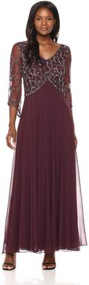 J Kara Women's 3/4 Sleeve Geo Beaded Gown