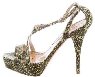 Oscar de la Renta Platform Snakeskin Sandals