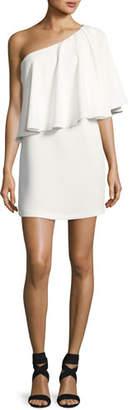 BA&SH Joya One-Shoulder Ruffle Mini Dress, Blanc