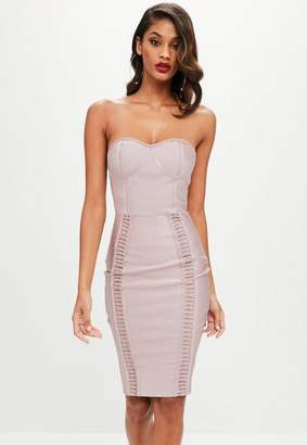 Missguided Nude Bandage Bustcup Metal Strap Detail Midi