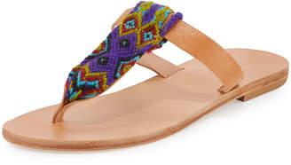 Neiman Marcus Elina Lebessi Lydia Woven Thong Sandal