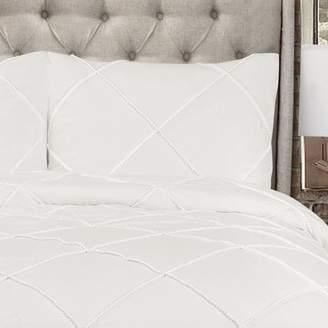 Lush Decor Diamond Pom Pom Comforter White 3Pc Set King