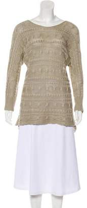 Alice + Olivia High-Low Cable Knit Sweater Khaki High-Low Cable Knit Sweater