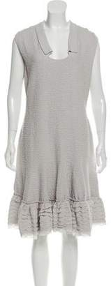 Valentino Ruffled-Hem Textured Dress w/ Tags