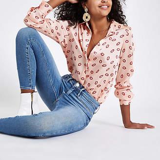 River Island Pink lip print button-down shirt