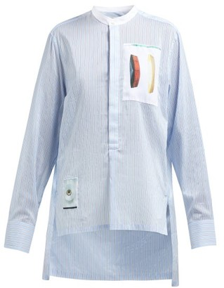 Wales Bonner Striped Cotton And Silk Blend Shirt - Womens - Blue White